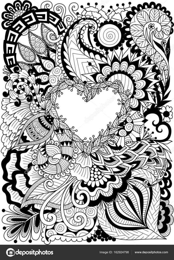 Línea diseño de arte de abstracto flores doblan en forma de corazón ...