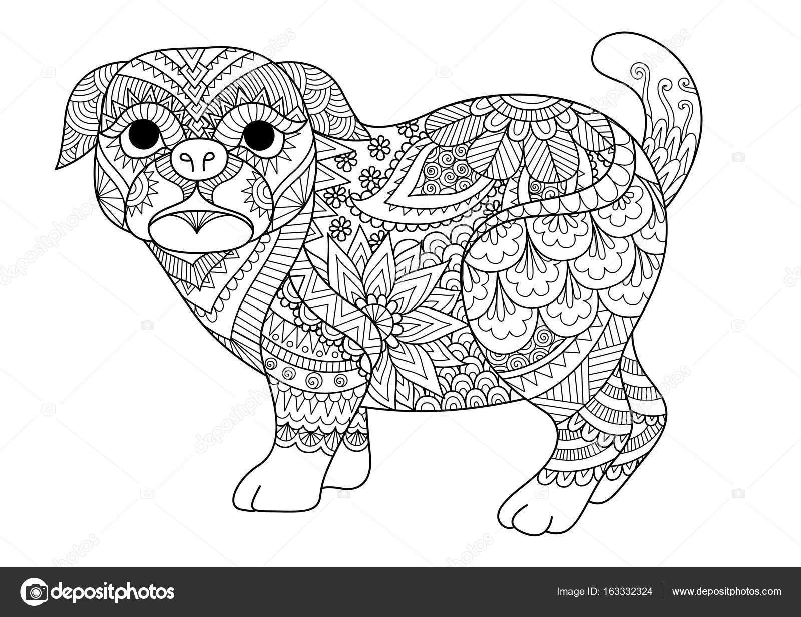 Cute Pug Coloring Pages Line Art Design Of Cute Pug Dog For Design Element T Shirt Design And Adult Coloring Book Page Vector Illustration Stock Vector C Somjaicindy Gmail Com 163332324