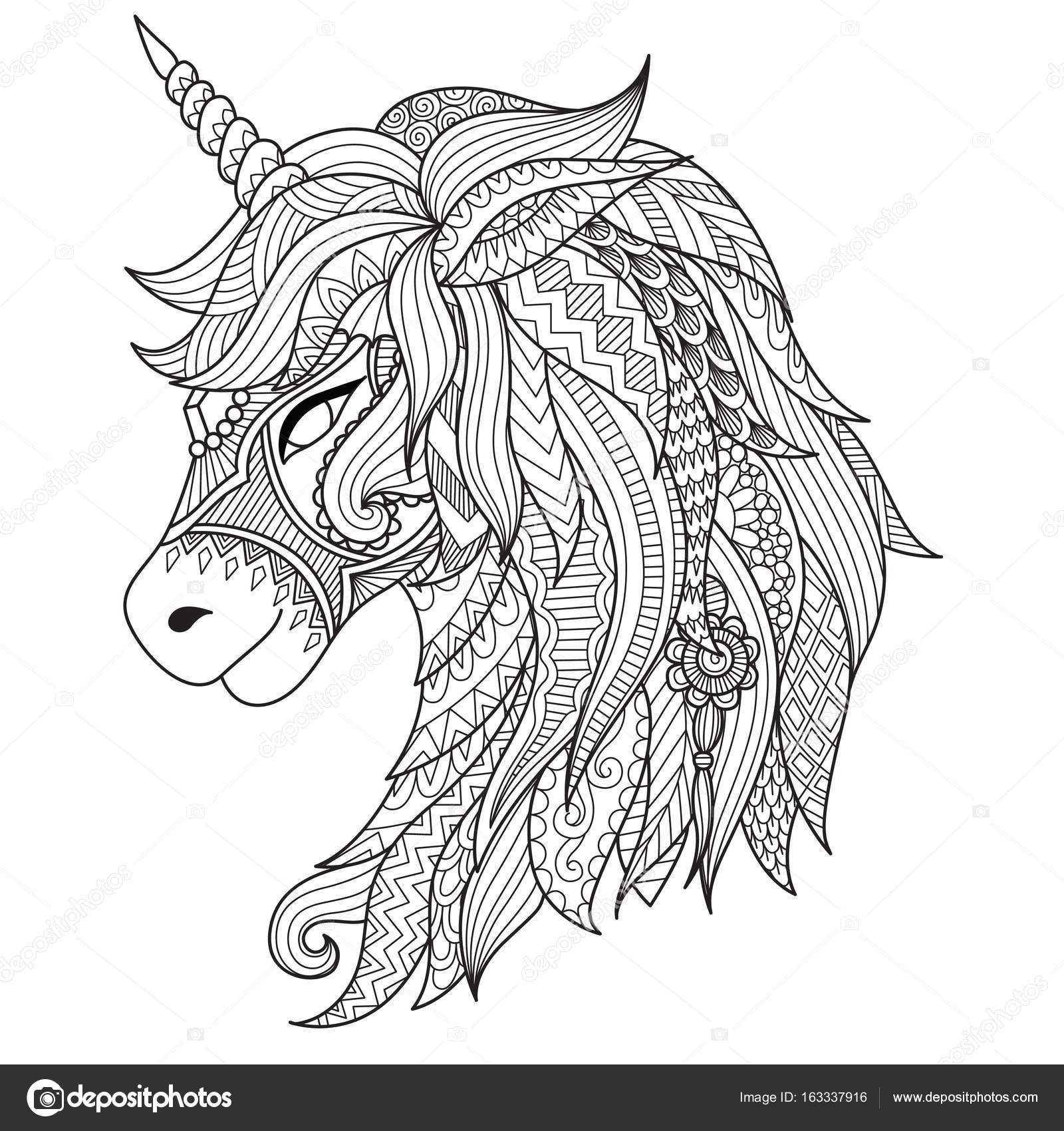 Drawing Unicorn Zentangle Style For Coloring Book Tattoo Shirt Design Logo Sign Stylized Vector Illustration Of Horse In Tangle Doodle