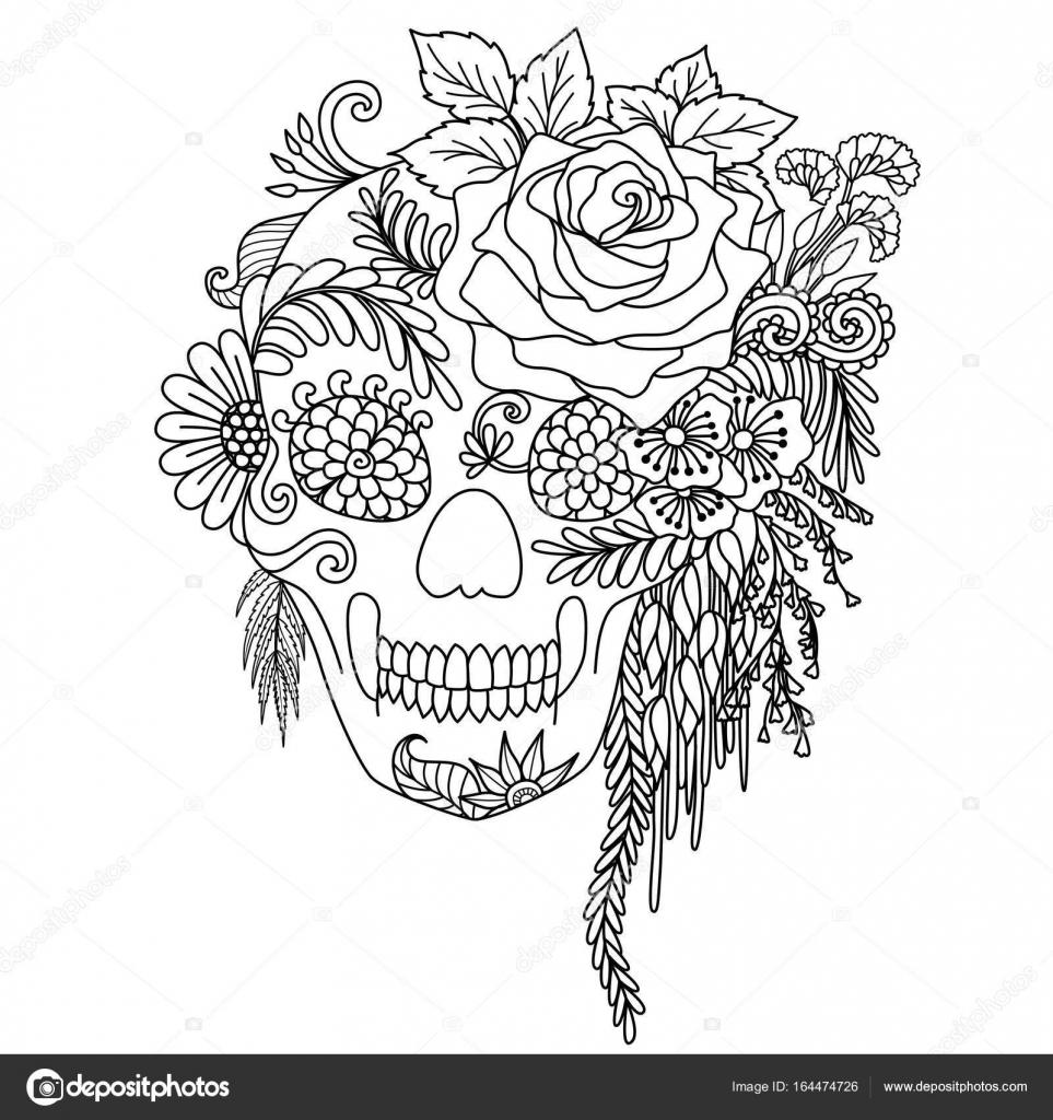 Línea arte diseño de flores con cráneo humano adulto para colorear ...