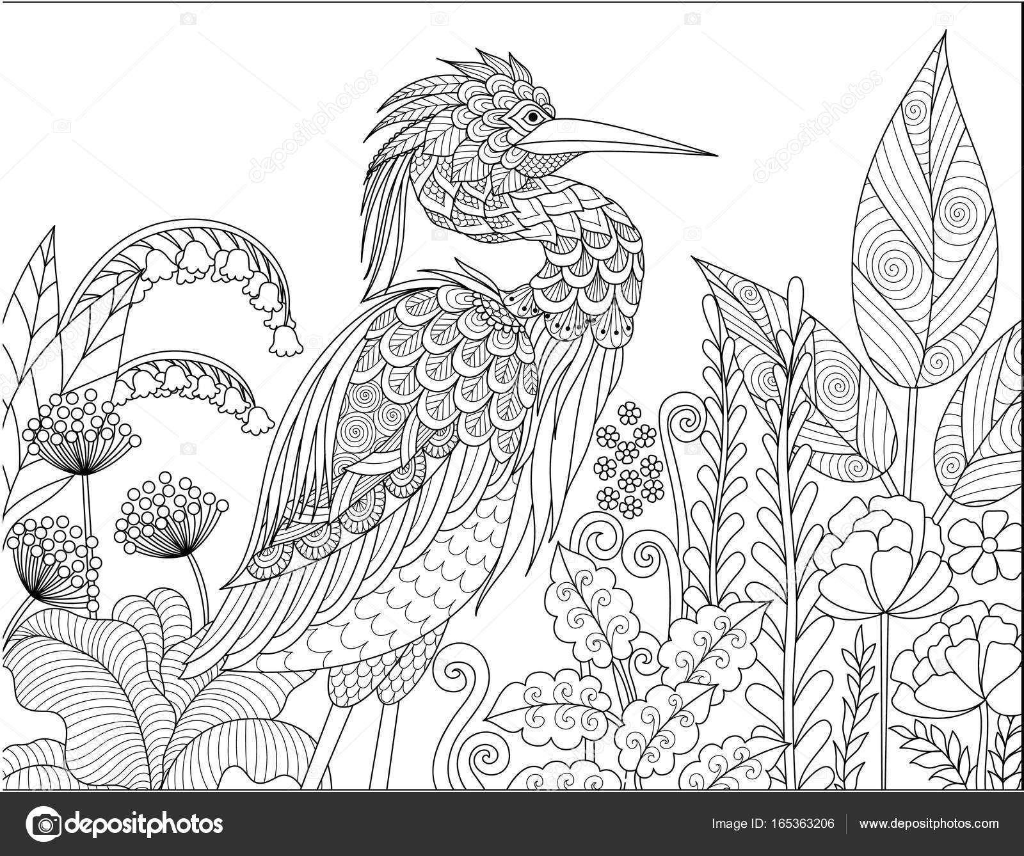 Coloriage Adulte Foret.Oiseau Heron Gris Dans La Foret Pour Adulte Livre De