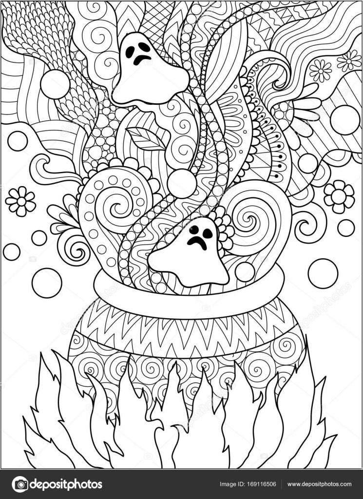 Linie Art-Design von Kessel kochen für Halloween-Karte, Einladung ...