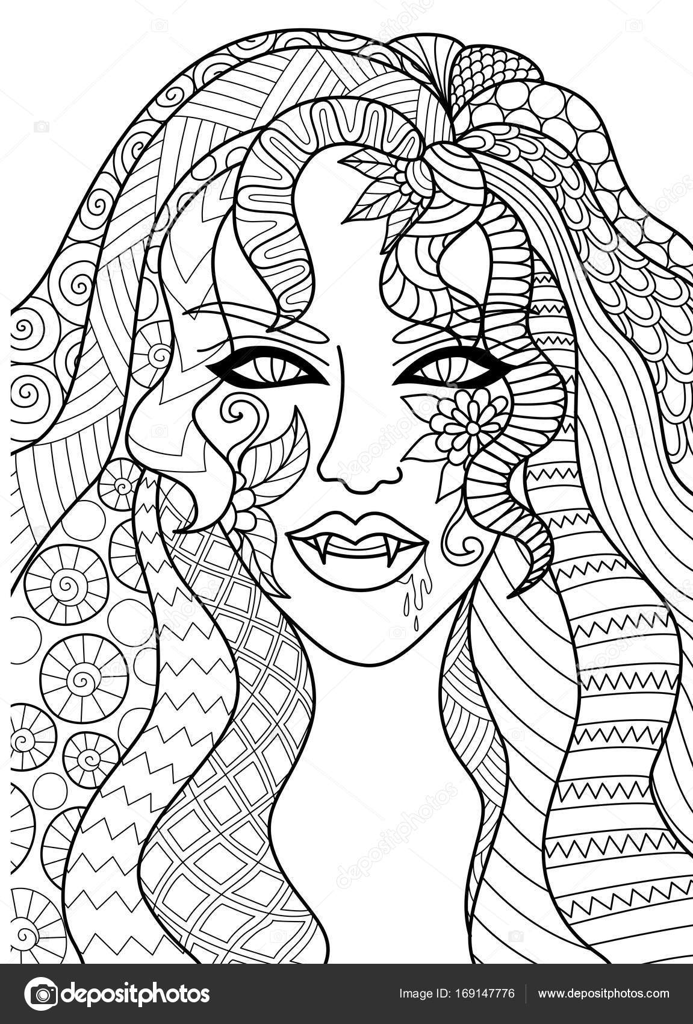 Línea de diseño de cabeza de bruja sexy para Halloween tarjeta ...