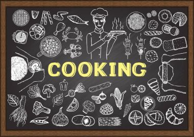 Hand drawn icons about cooking on chalkboard. Vector illustration