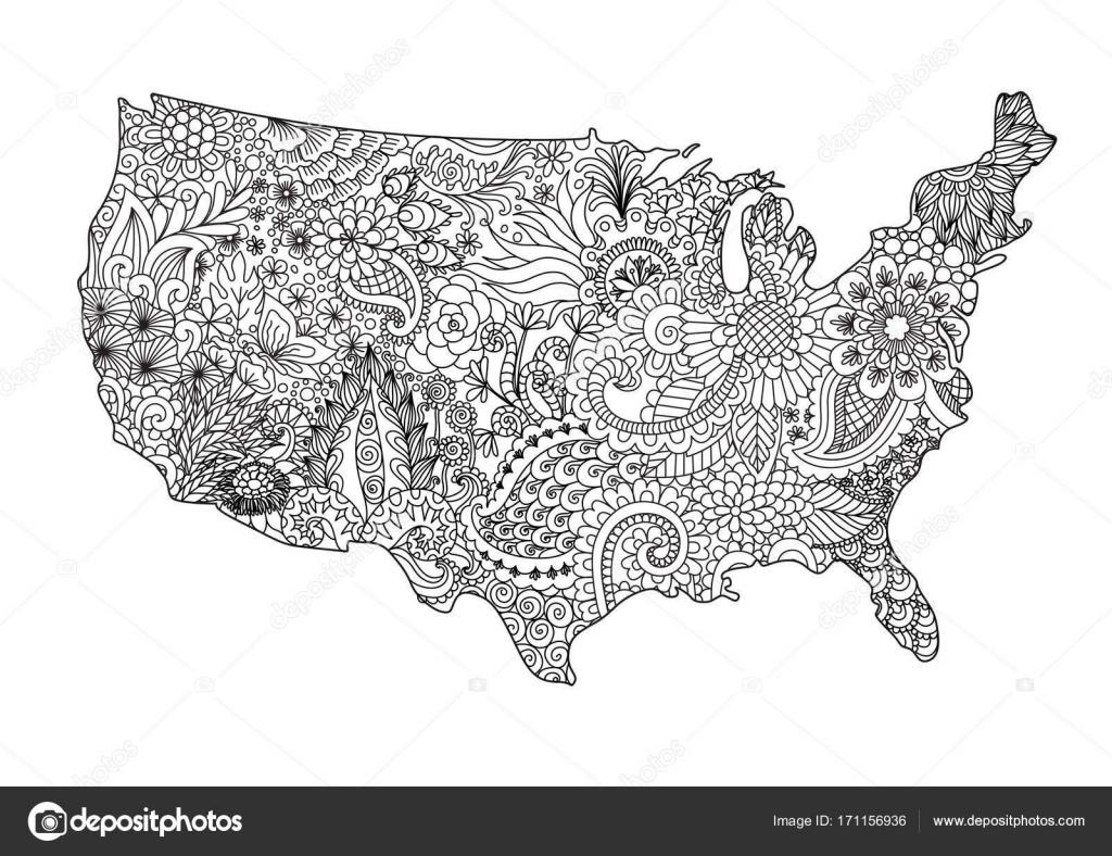 Floral Usa-Karte — Stockvektor © somjaicindy@gmail.com #171156936