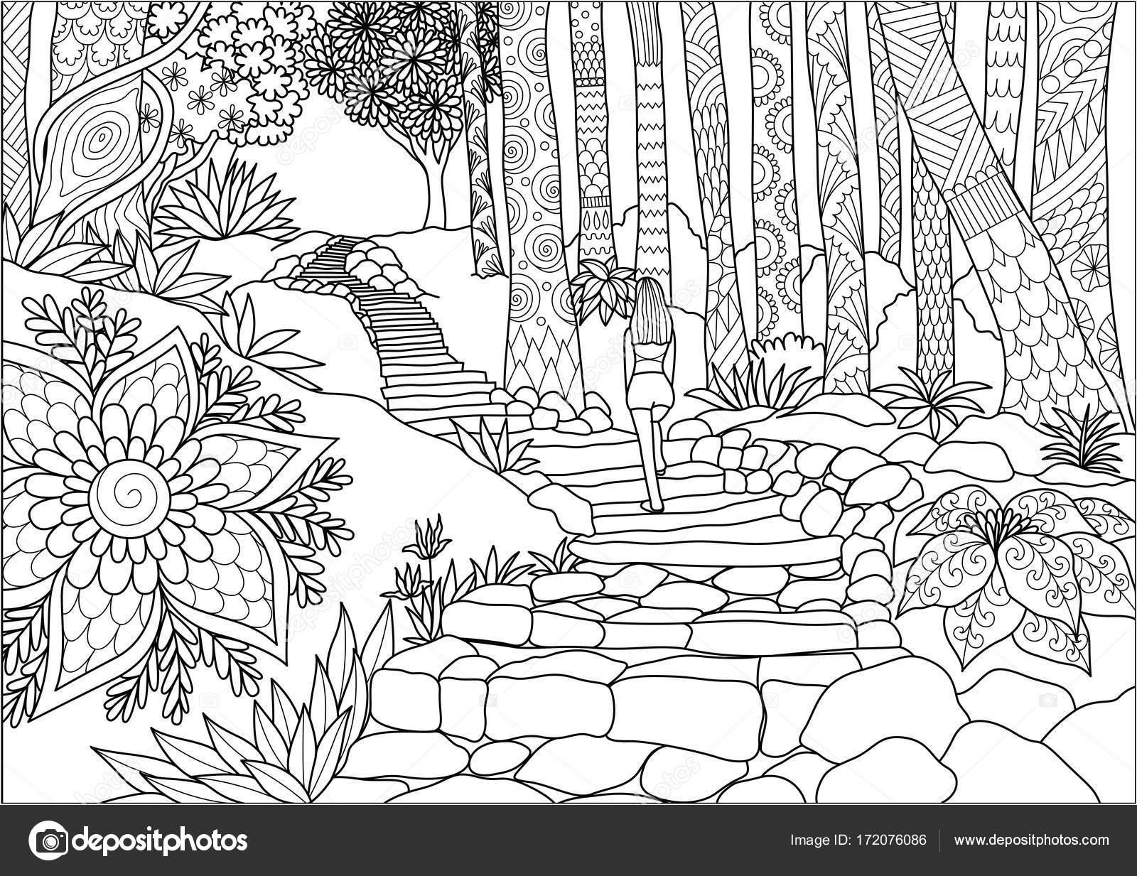 Kız Adım Orman Boyama Kitabı Sayfası Ve Illüstrasyon Için