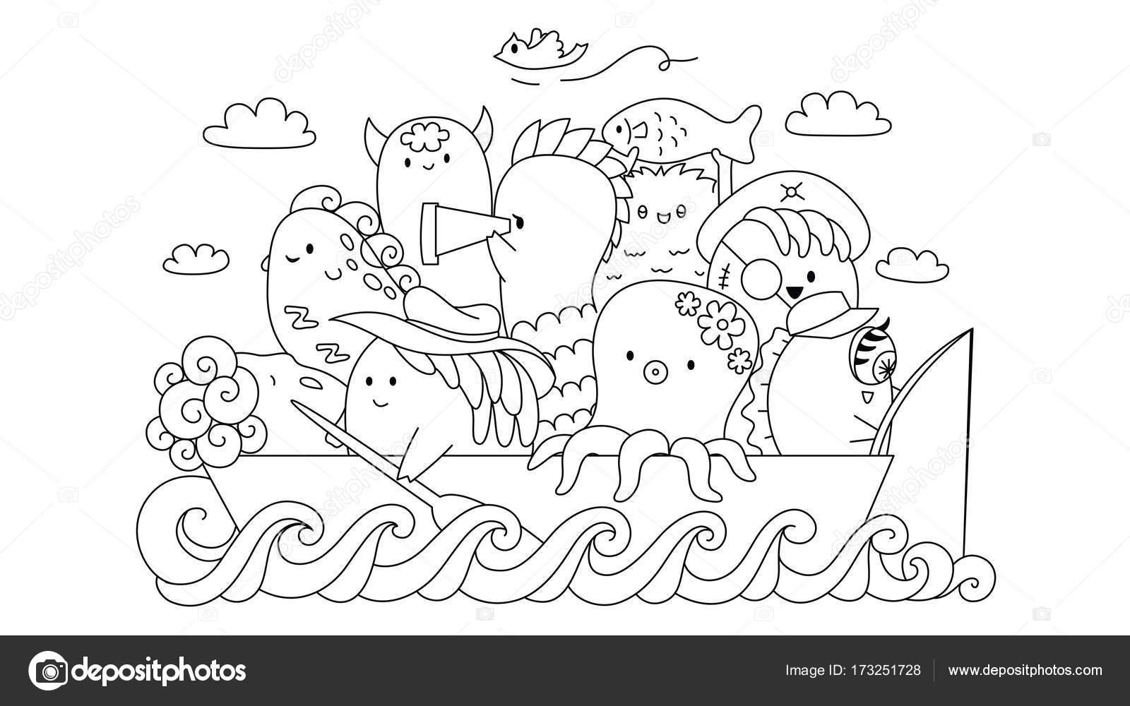 Gángster de lindo monstruo en el barco para el elemento de diseño y ...