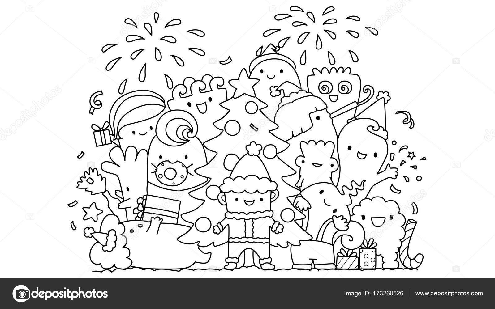Linien-Kunst-Design niedlichen Monster Weihnachtsfeier, Design für ...