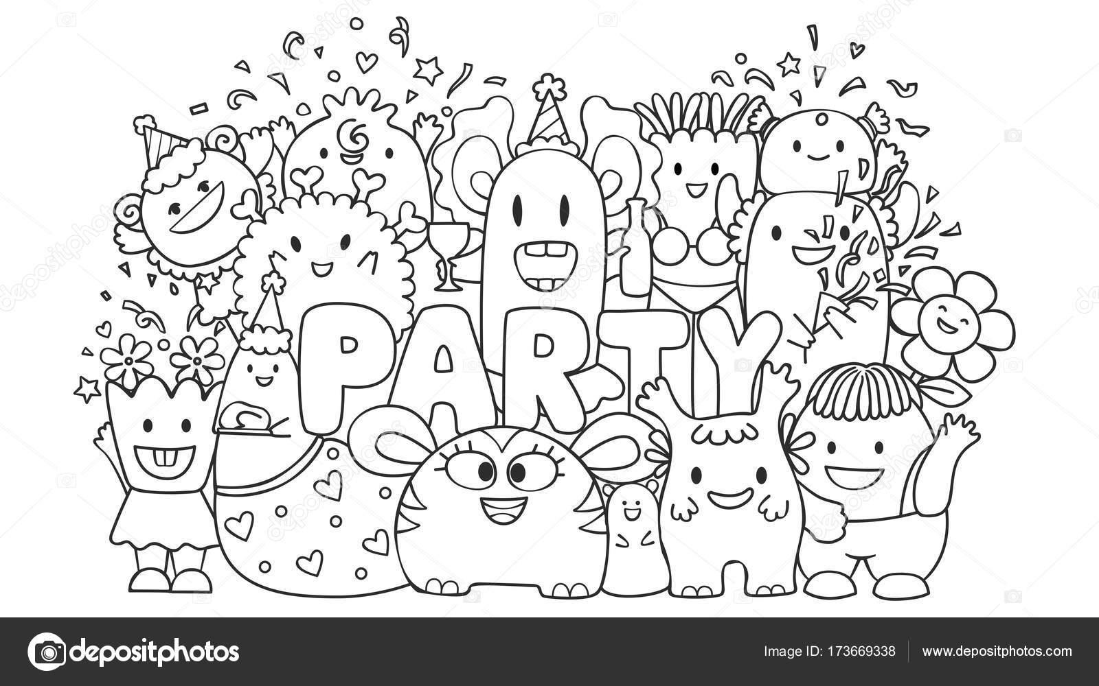 Monstruos lindos en la parte de elemento de diseño y página del ...