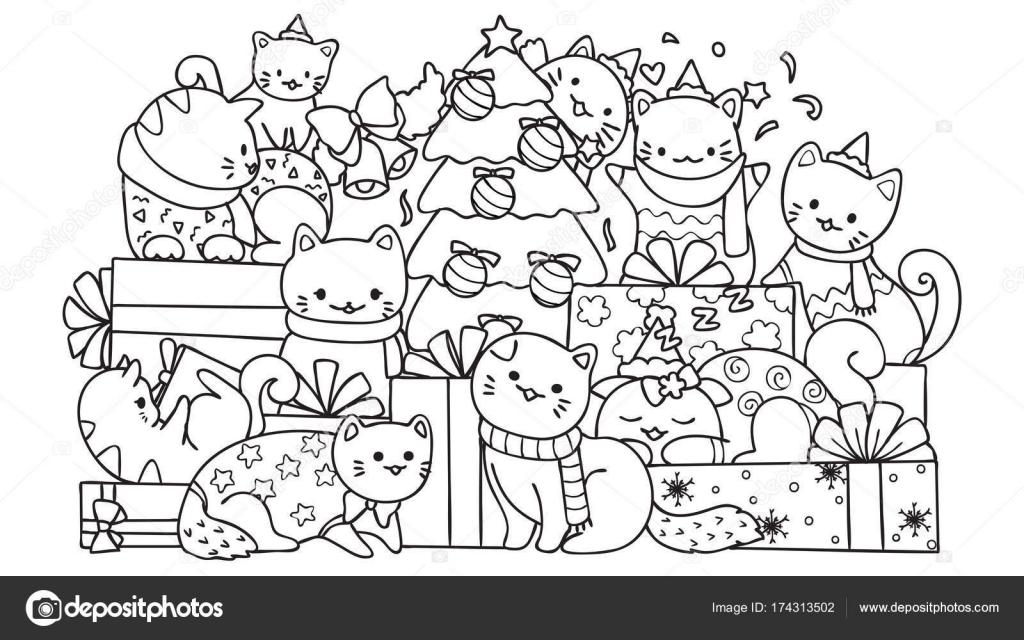 Gatos lindos con cajas de regalo y árbol de Navidad para el elemento ...