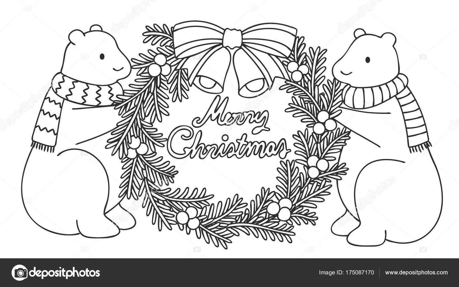 Niedlichen Eisbären Halten Adventskranz Mit Hand Gezeichnet