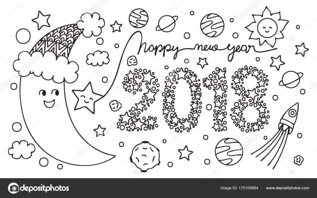 Yarım Ay Mutlu Yeni Yıl 2018 Stok Vektör Somjaicindy At Gmailcom