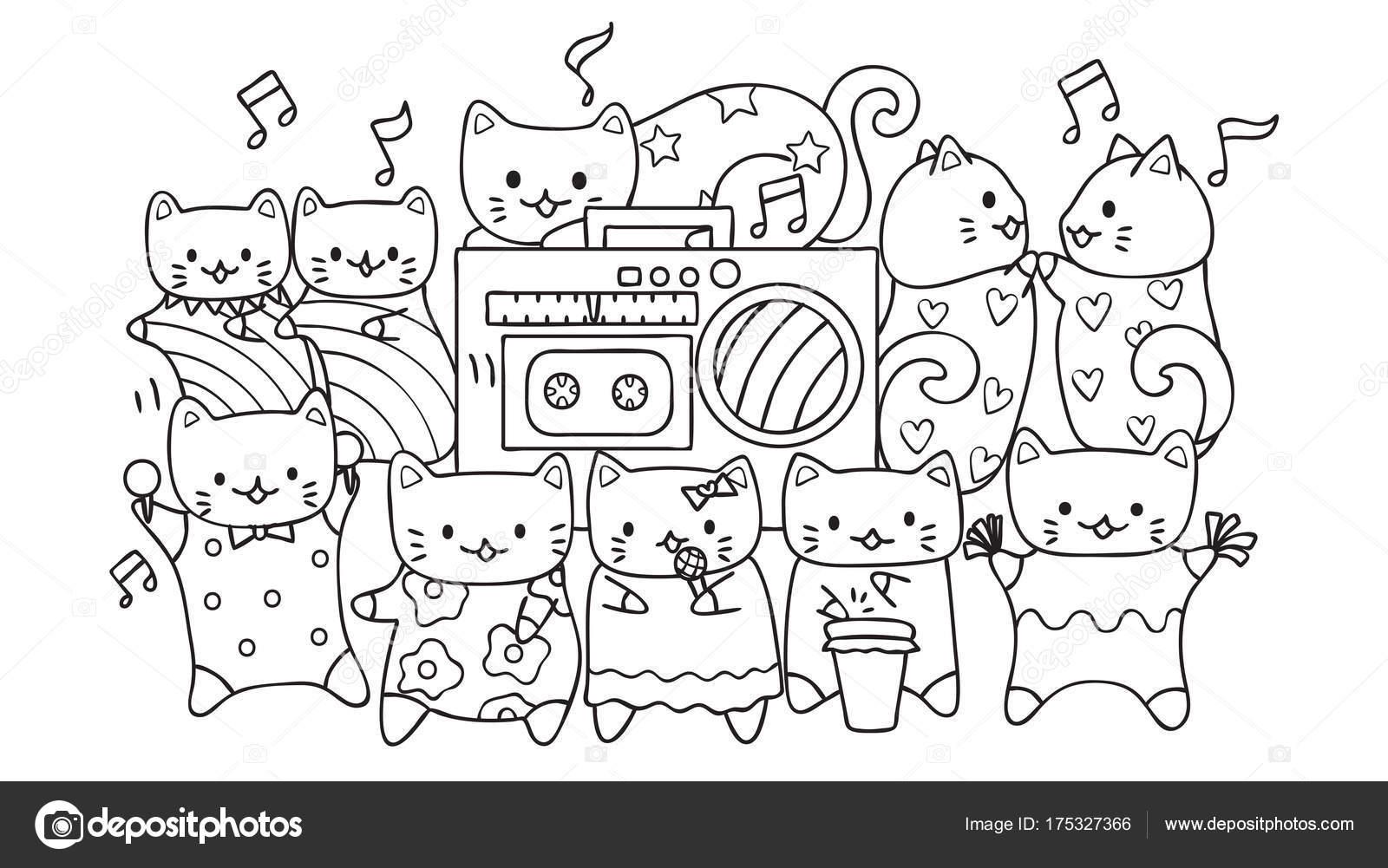 Handgezeichnete Niedliche Katzen Hören Und Tanzen Zur Musik Für ...