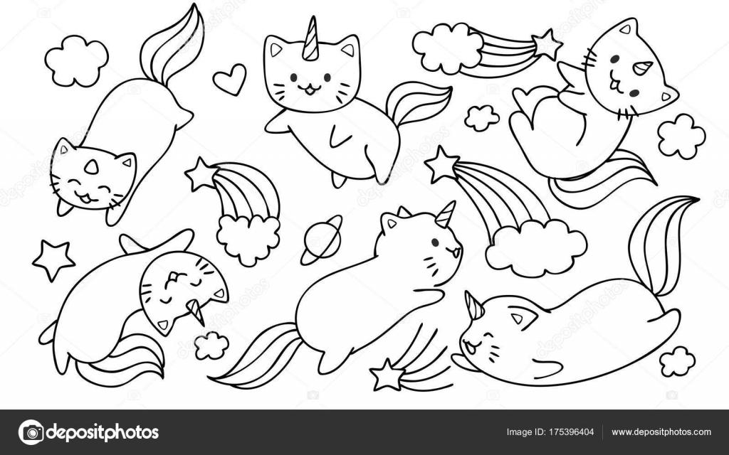 Mano Dibuja Gatos Lindo Unicornio Volando Con Estrellas Nubes Para ...