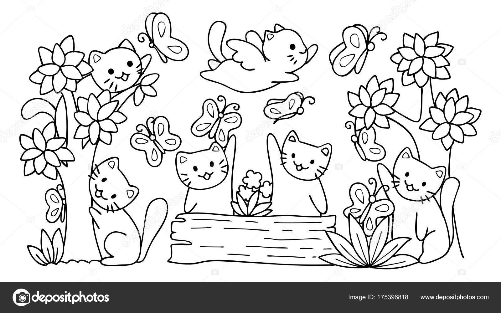 Mano Dibuja Gatos Lindos Jugando Con Mariposa Bosque Elemento Diseño ...