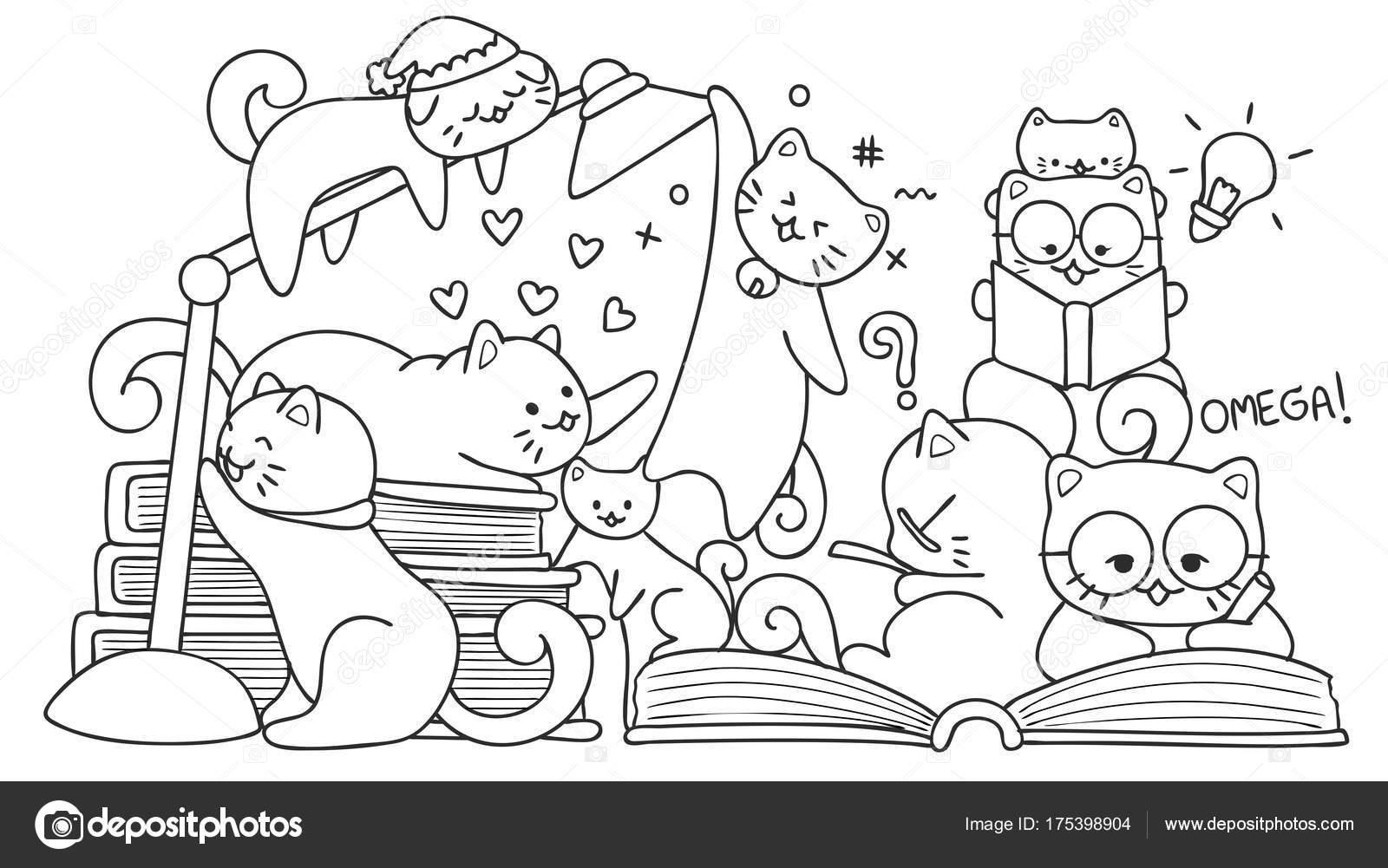 Gatos Lindos Dibujado Mano Para Elemento Diseño Lectura Para ...