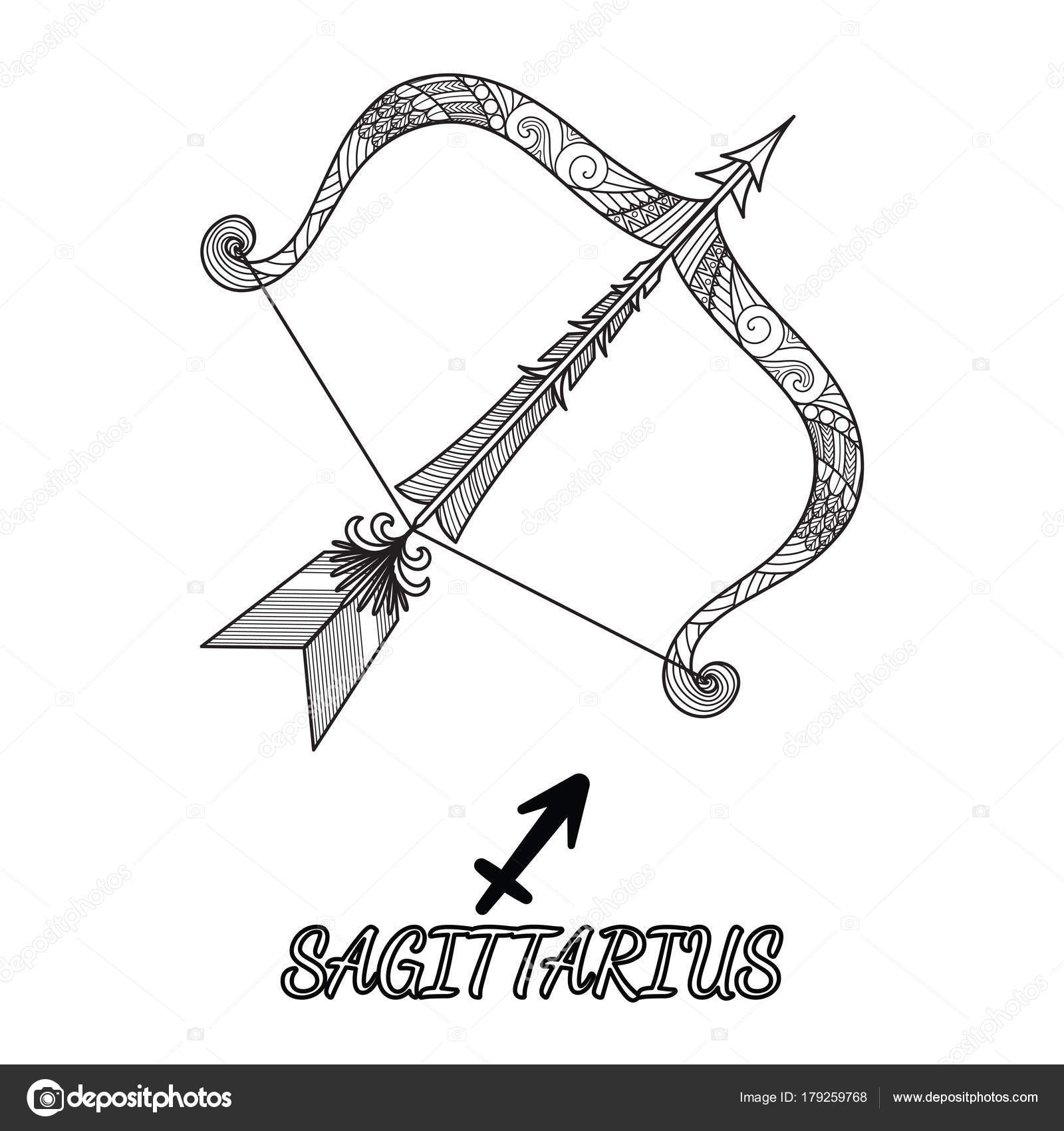 линия арт дизайн знака зодиака стрелец элемент дизайна