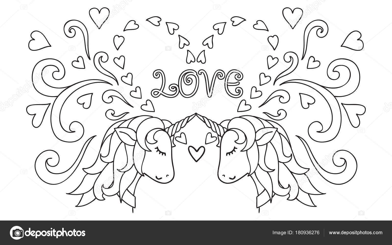 Kleurplaten Prinsessen Dieren.Hand Getekend Unicorn Magische Dieren Vectorillustraties Zwart