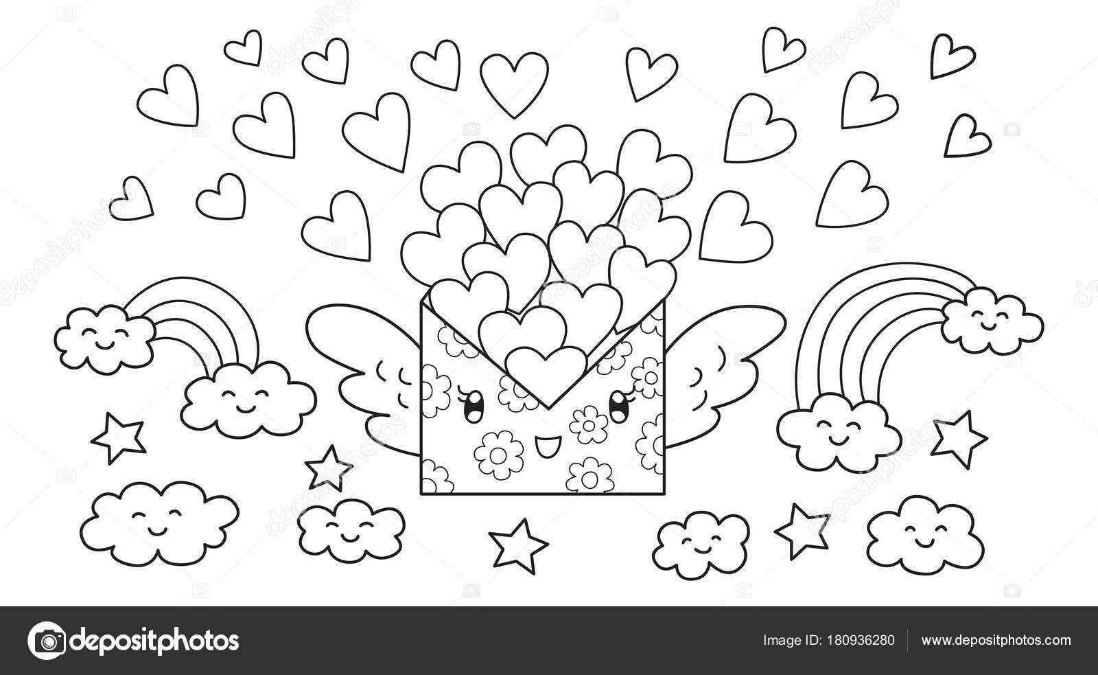 Carta de correo lindo dibujado mano llevando un montón de amores de ...