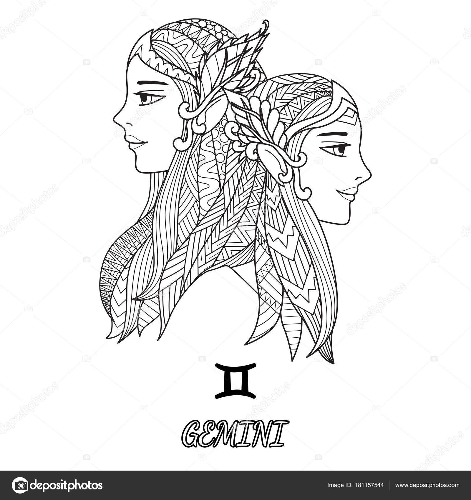 Ligne Art Conception Du Signe Du Zodiaque Gémeaux Pour élément De