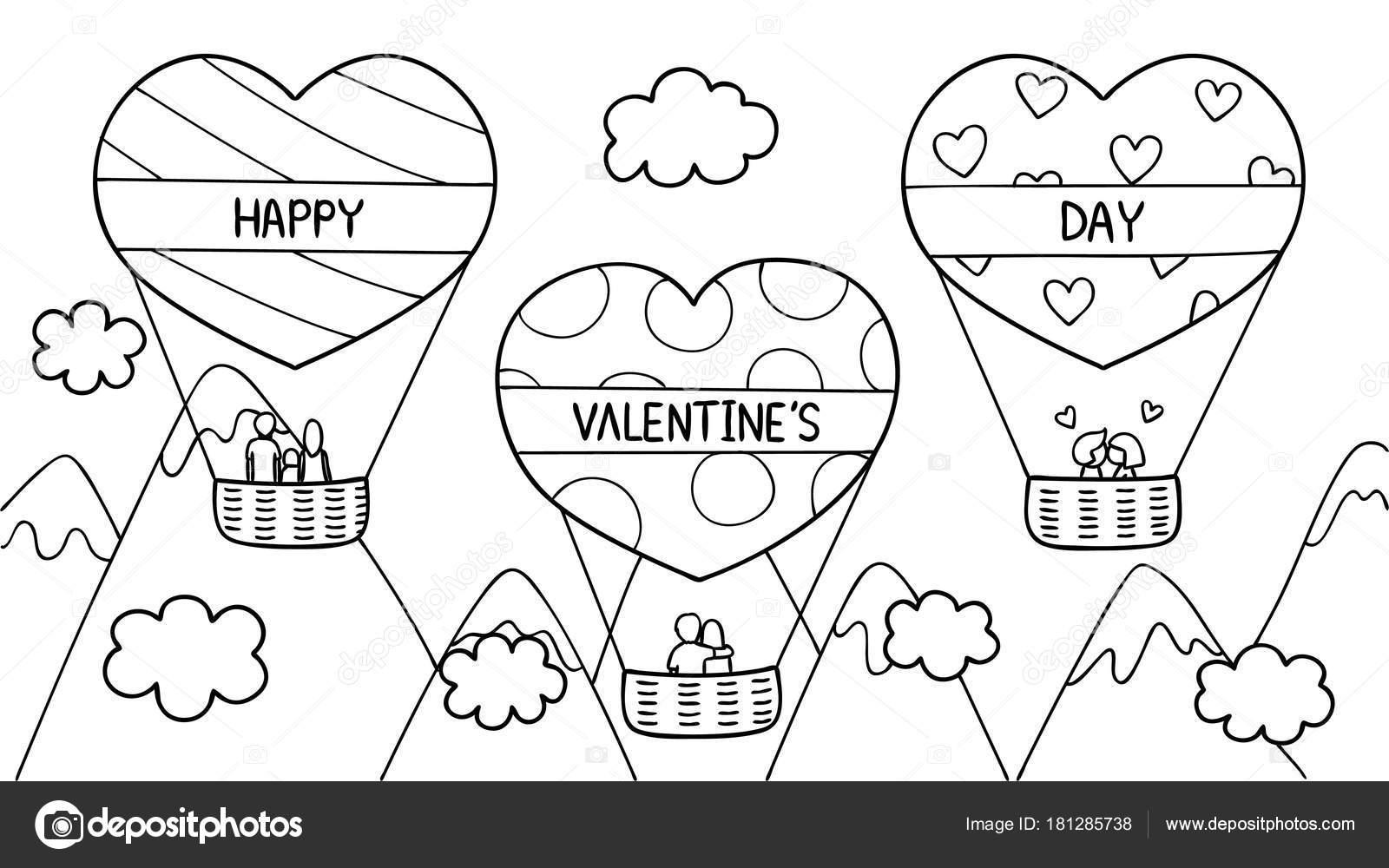 Coloriage Ballon En Coeur.Main Couples Famille Passer Bon Temps Sur Ballon Air Chaud Image