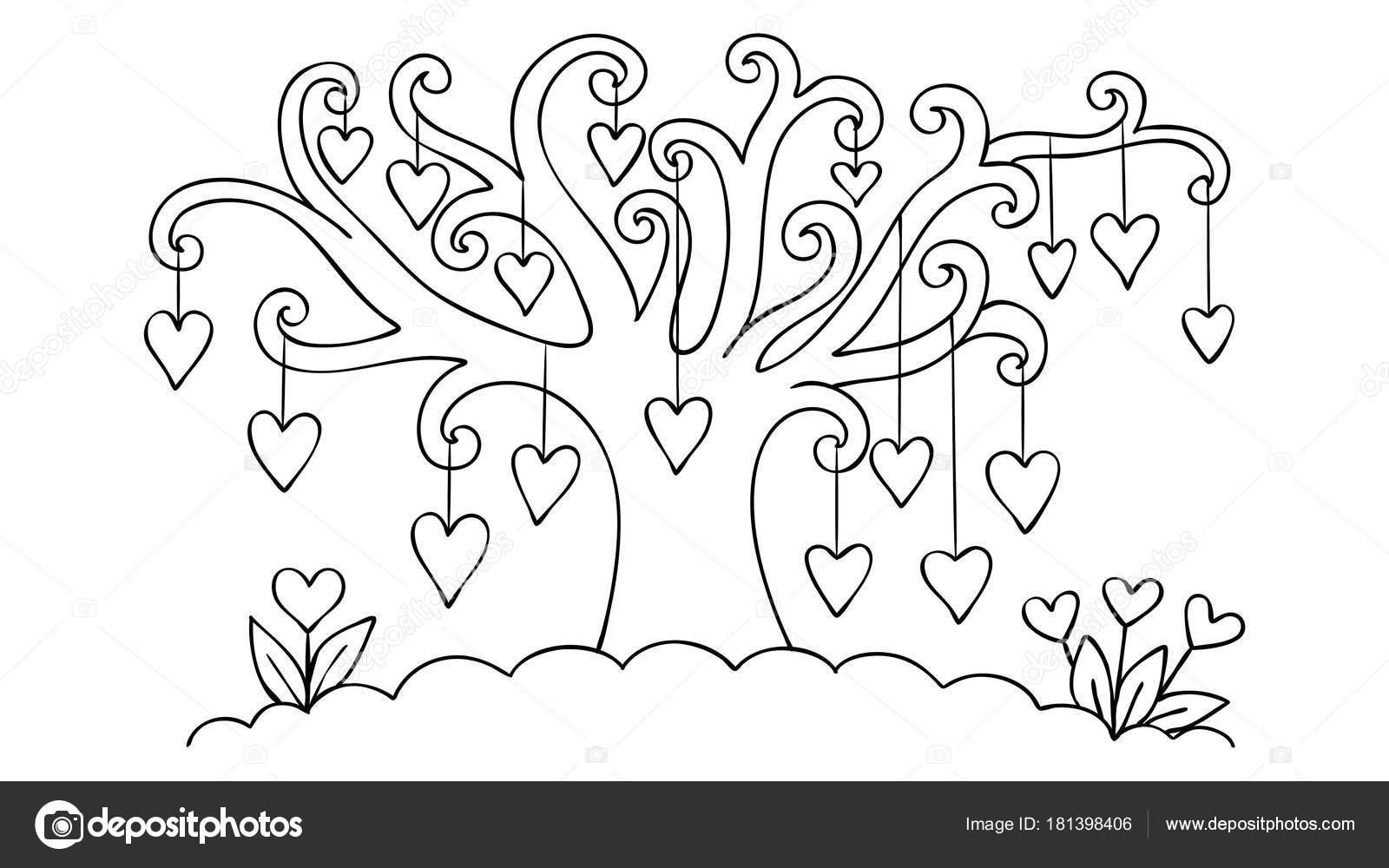 Cuori Disegnati Mano Appeso Disegno Dell Albero San Valentino