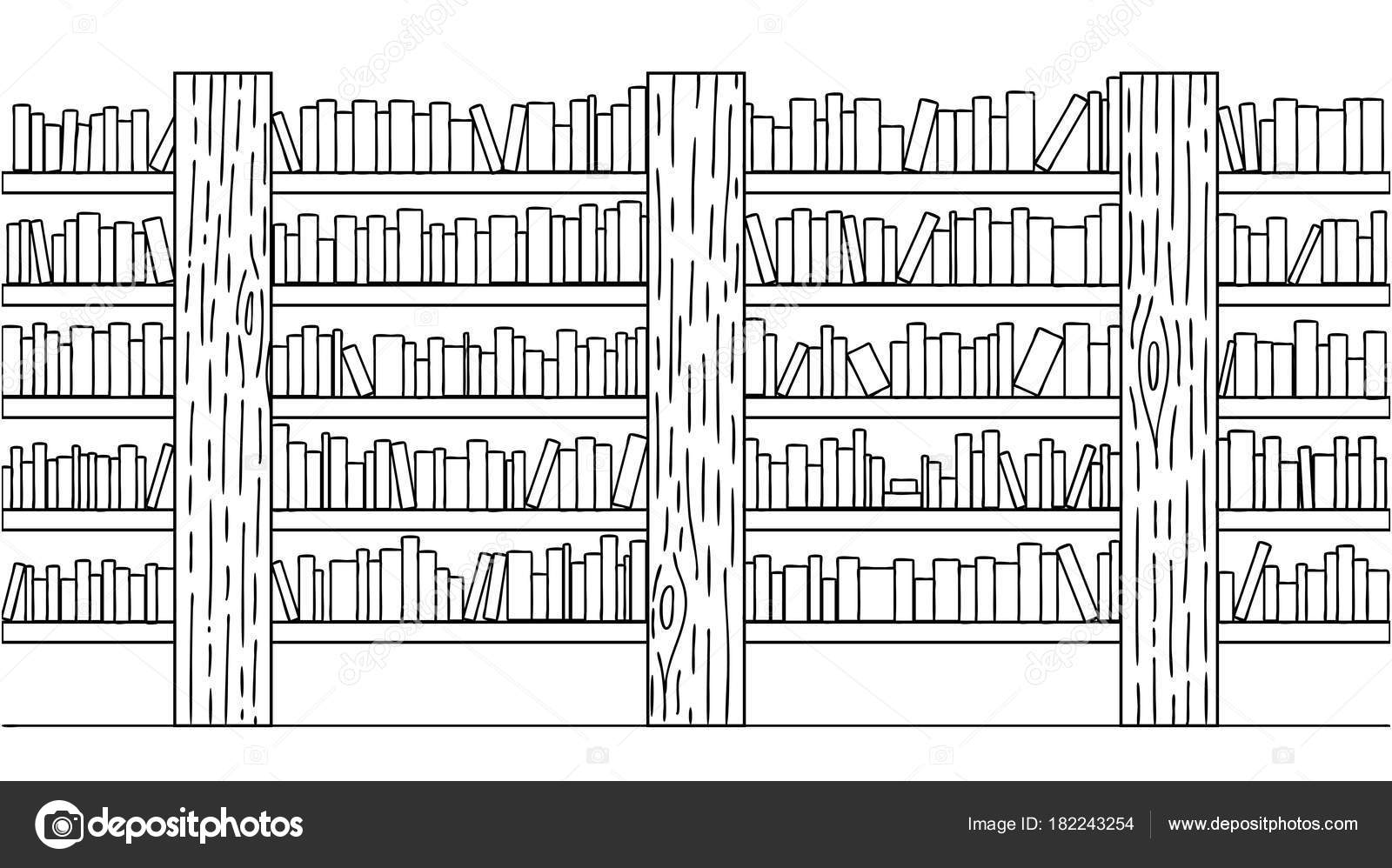 Handgezeichnete Bücher Bücherregal Für Hintergrund Design Element ...