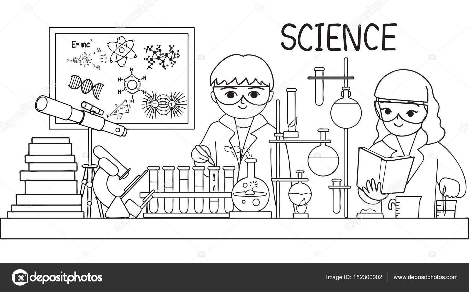 Hand Getekend Schattige Kinderen Doen Test Laboratorium Voor