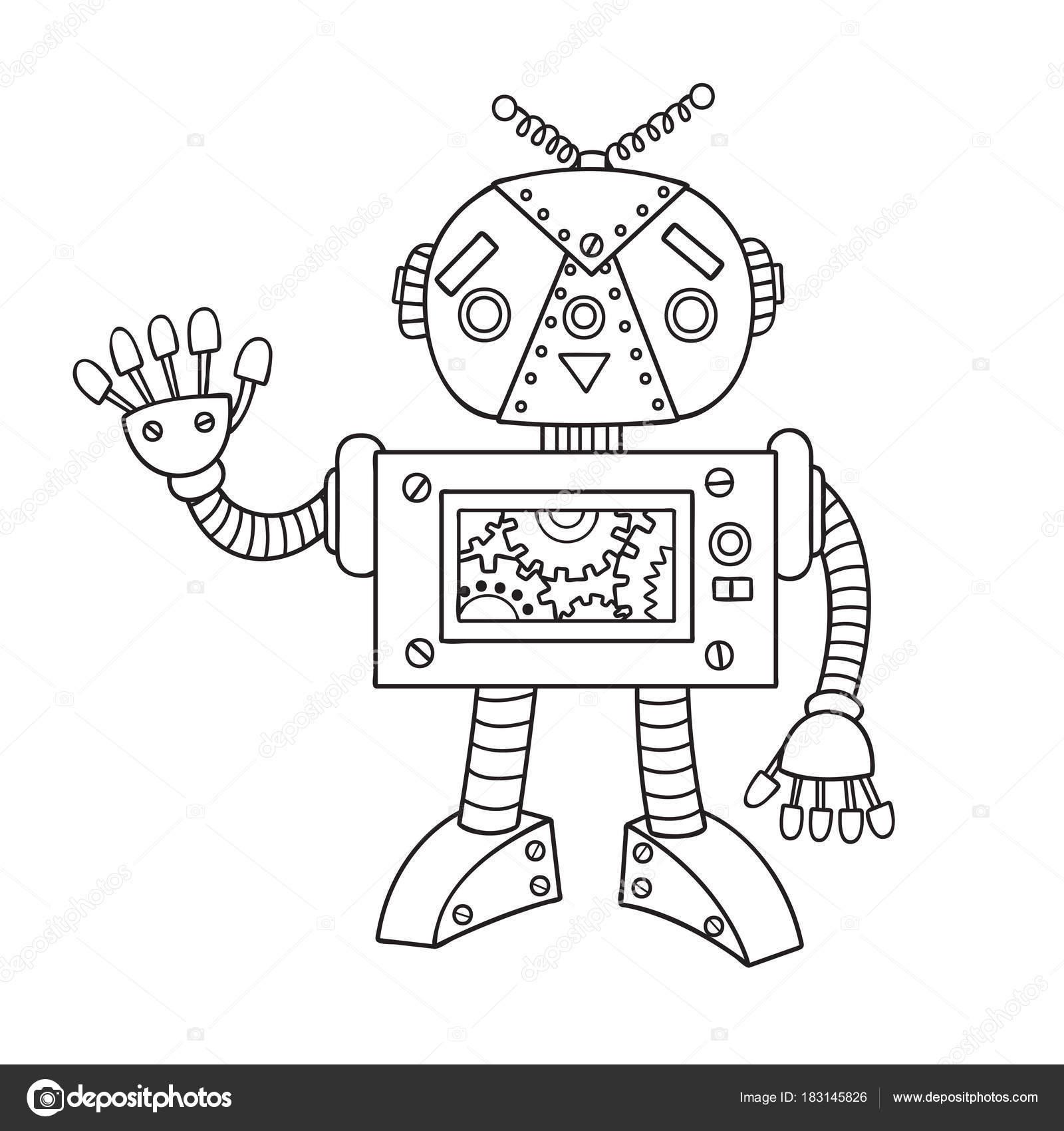 Hand Gezeichnet Niedliche Roboter Für Design Element Und Buch ...