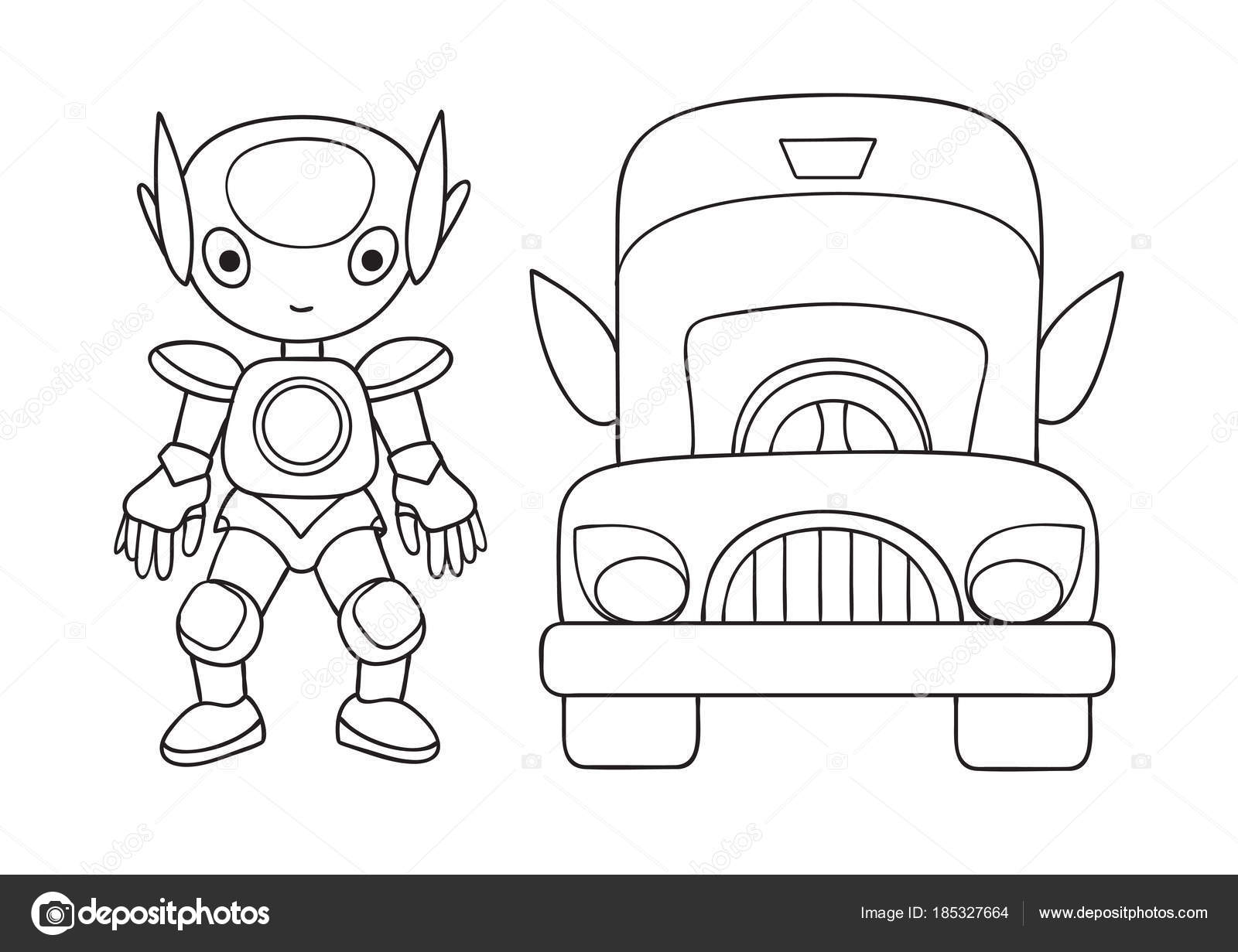 Hand Drawn Cute Robot Car Design Element Coloring Book Page — Stock ...