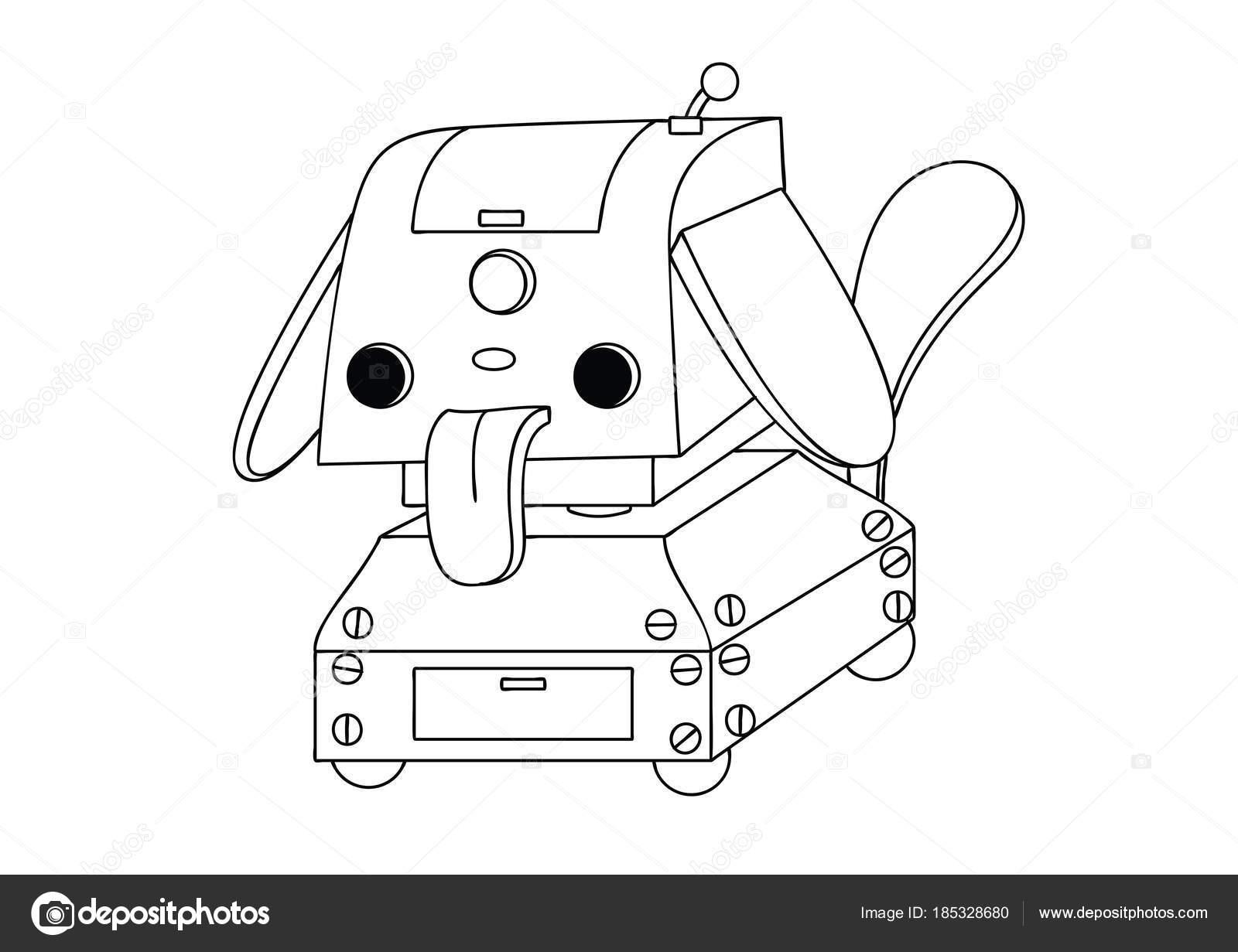 Elementos De Tecnologia Para Colorear Robot Mascota Lindo