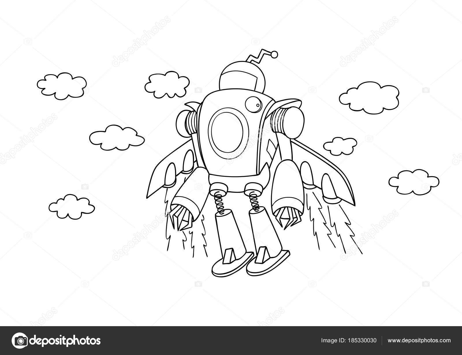 рука нарисованные милые летающие робот элемент дизайна