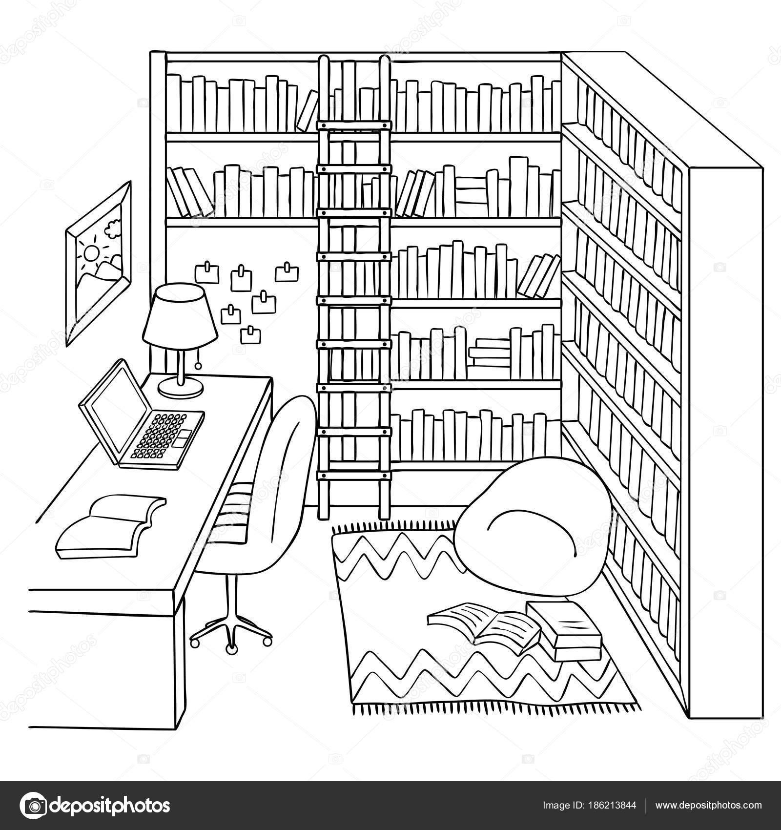 Imágenes Biblioteca Para Colorear Mano Dibujada Sala Estudio