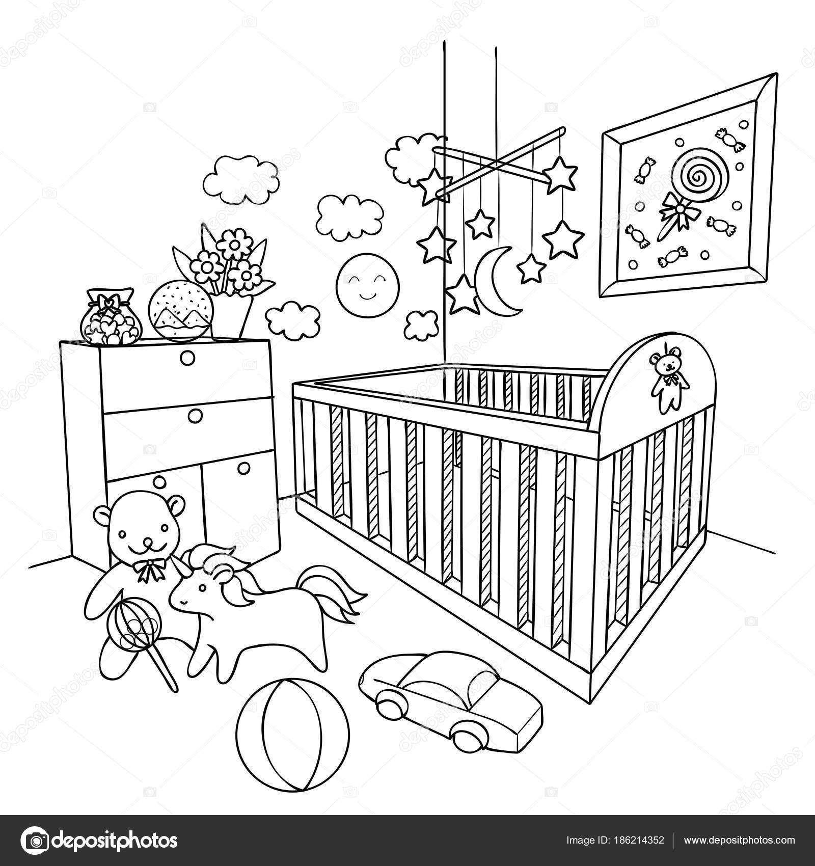 çizilmiş Bebek Odası Tasarım öğesi Için Kitap Sayfa Boyama Vektör