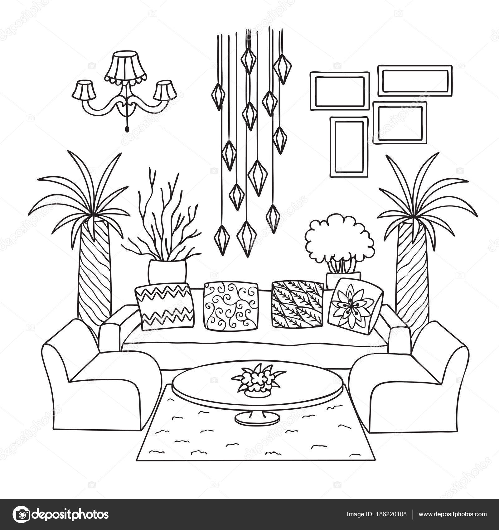 M o sala desenhada para elemento design p gina livro for Comedor para dibujar