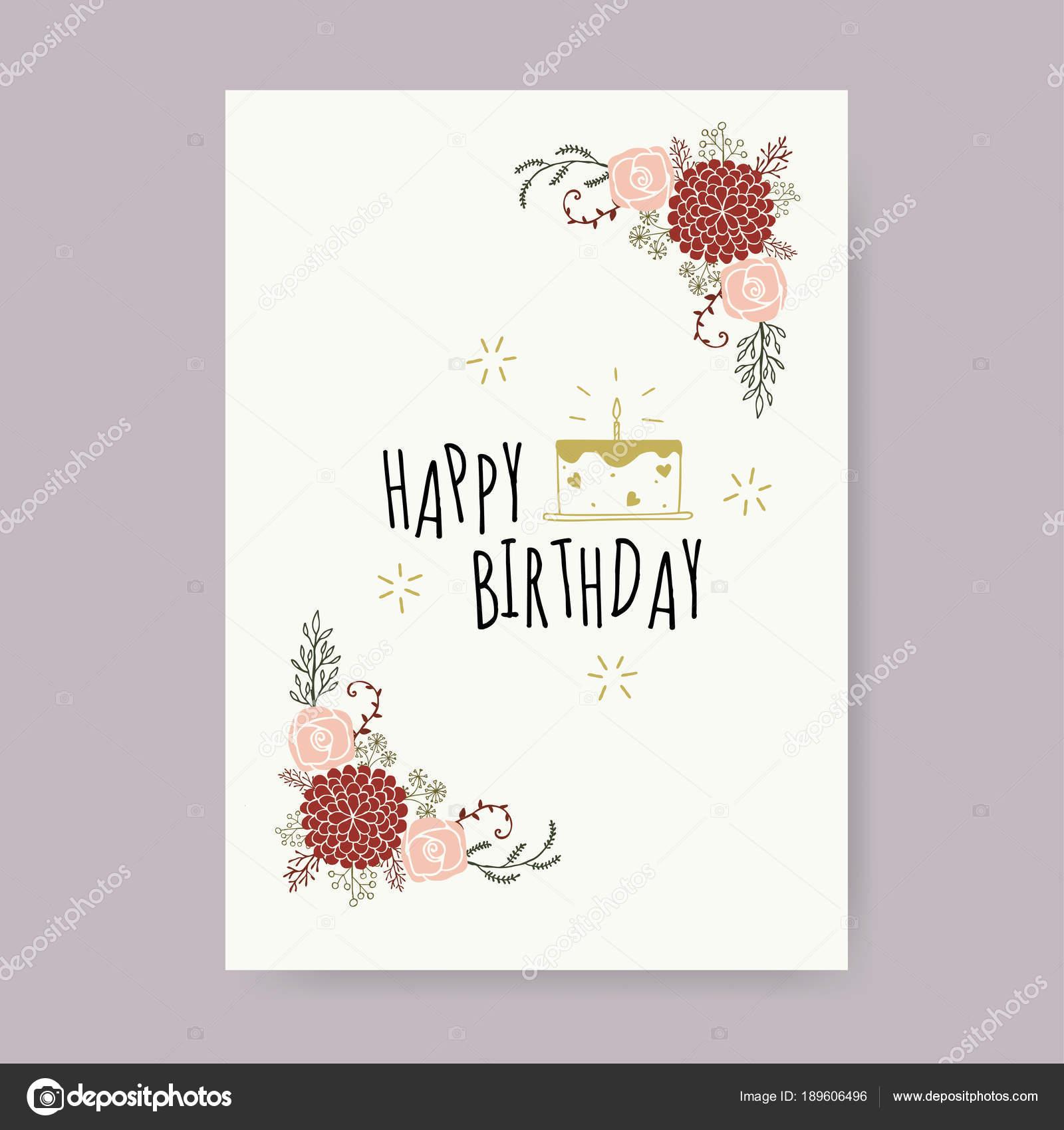 Happy Birthday Card Design Template Vector Illustration Stock