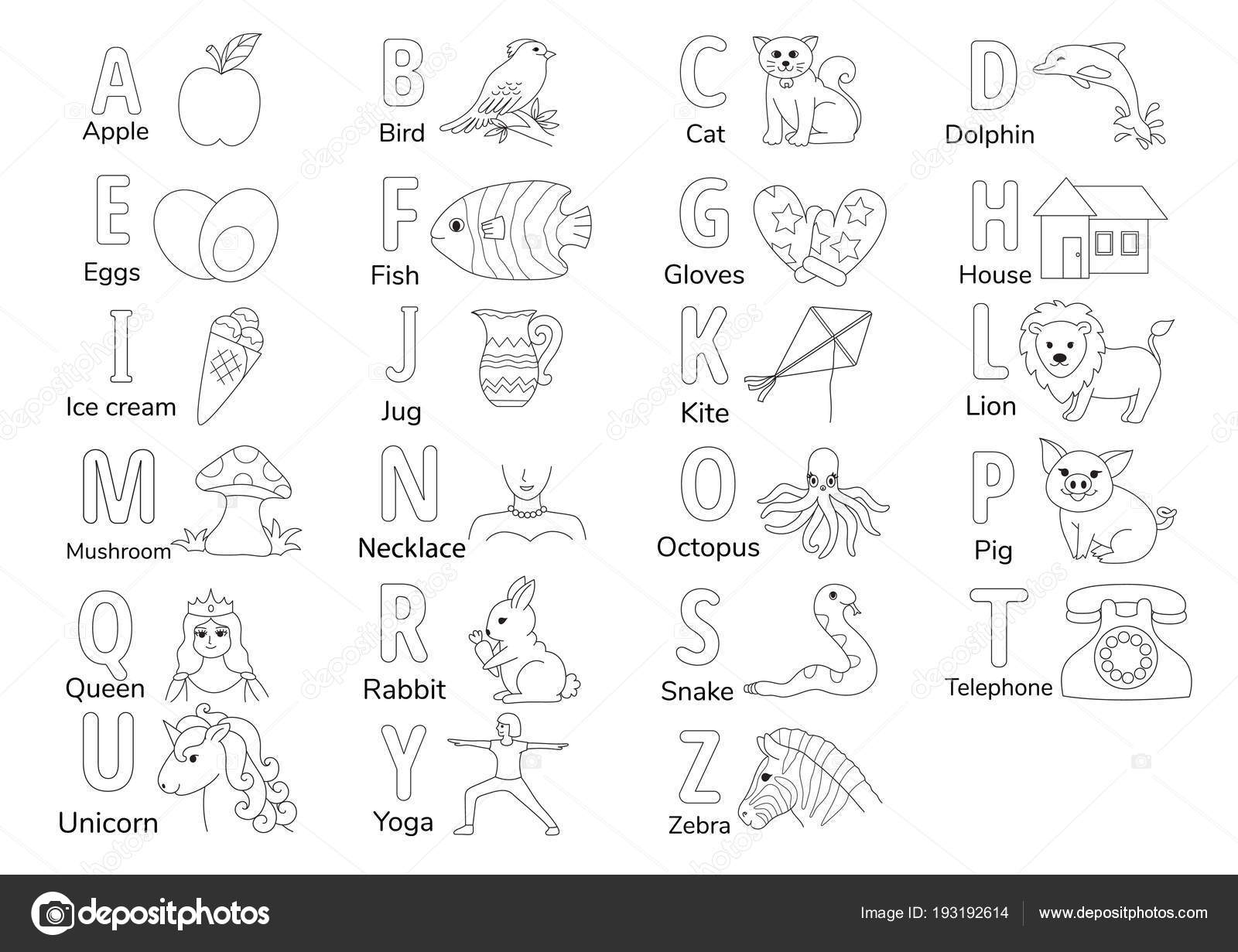 Colorless Alphabets Illustration Coloring Book Page Kids English