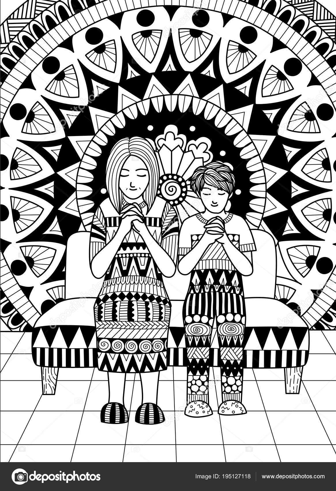 Anne Ve Oğlu Kendi Elleri Ve Dua Kartları Için Tasarım Ve