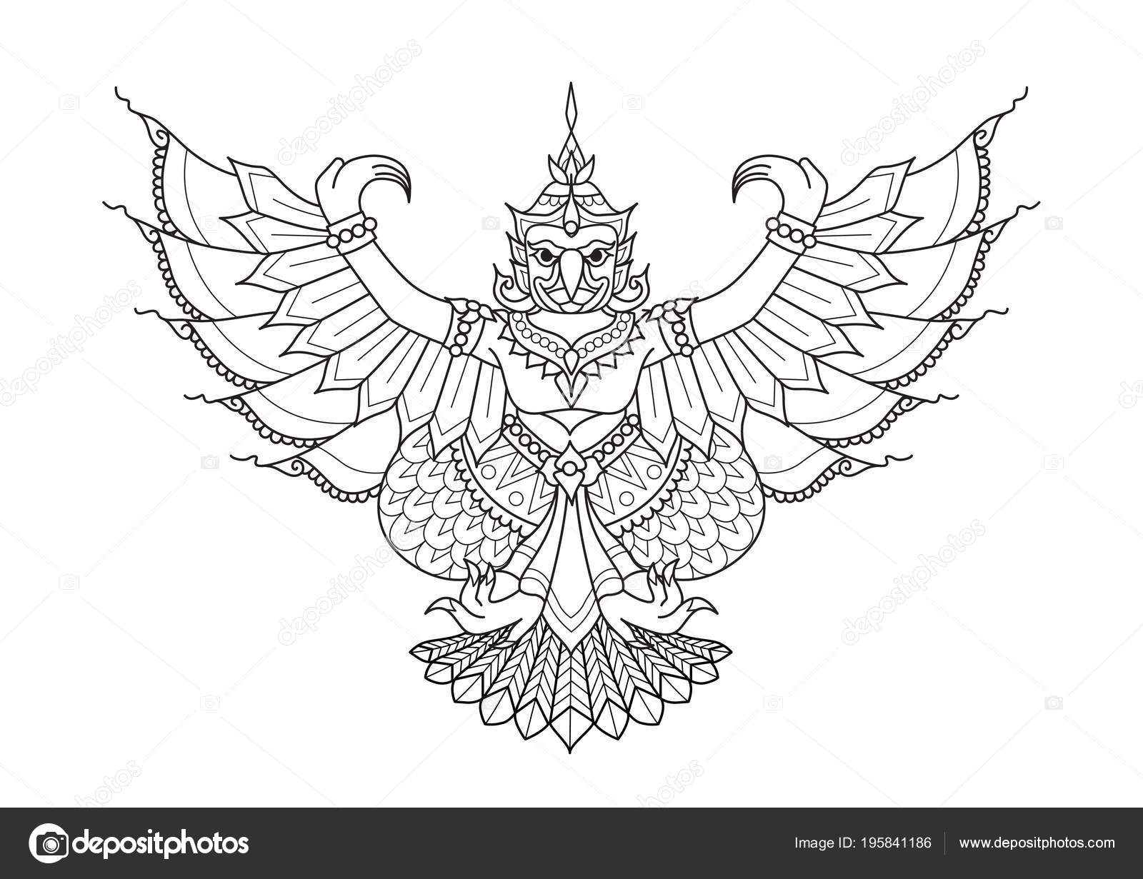 Vector Garuda Garuda Mitad Humano Mitad Pájaro Animal Literatura