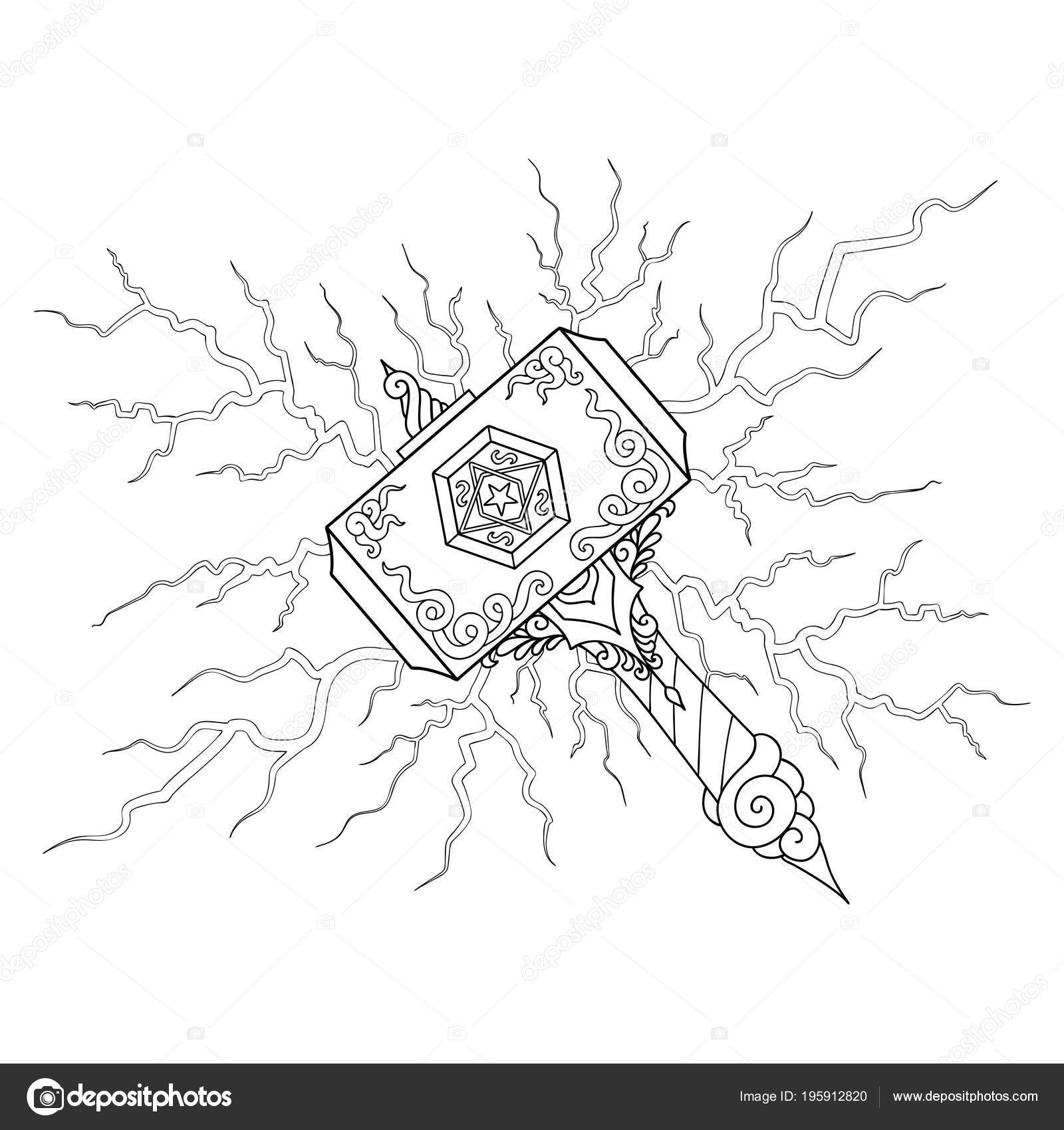 Hand Drawn Beautiful Hammer Light Bolt Illustration Coloring Book