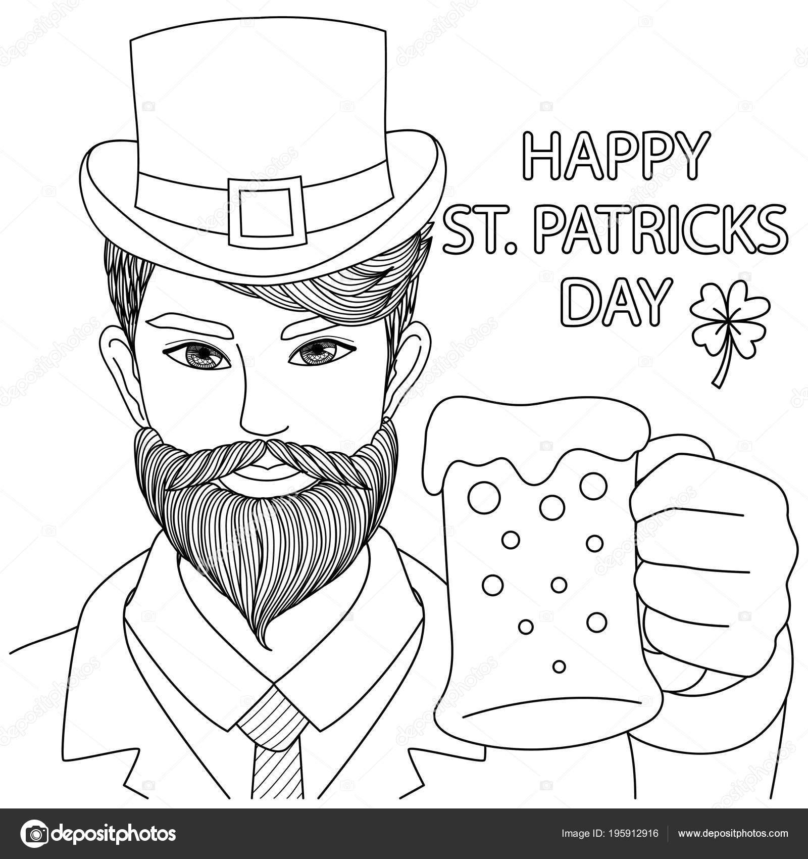 Chico Caucásico Sosteniendo Vaso Cerveza Con Frase Happy Patricks ...