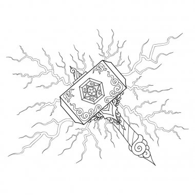 Hand drawn beautiful hammer with light bolt for illustration and coloring book page for adult and kids