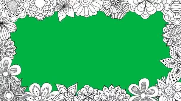 Fekete-fehér virágok forgó keret zöld képernyő háttér, 2d animáció