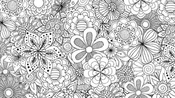 Black and white flowers spinning for background. 2d animation