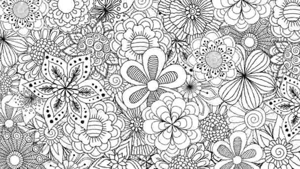 Černobílé květy rotující na pozadí. 2d animace