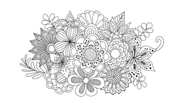 Černobílé rostoucí květiny a pak točit, pro pozadí