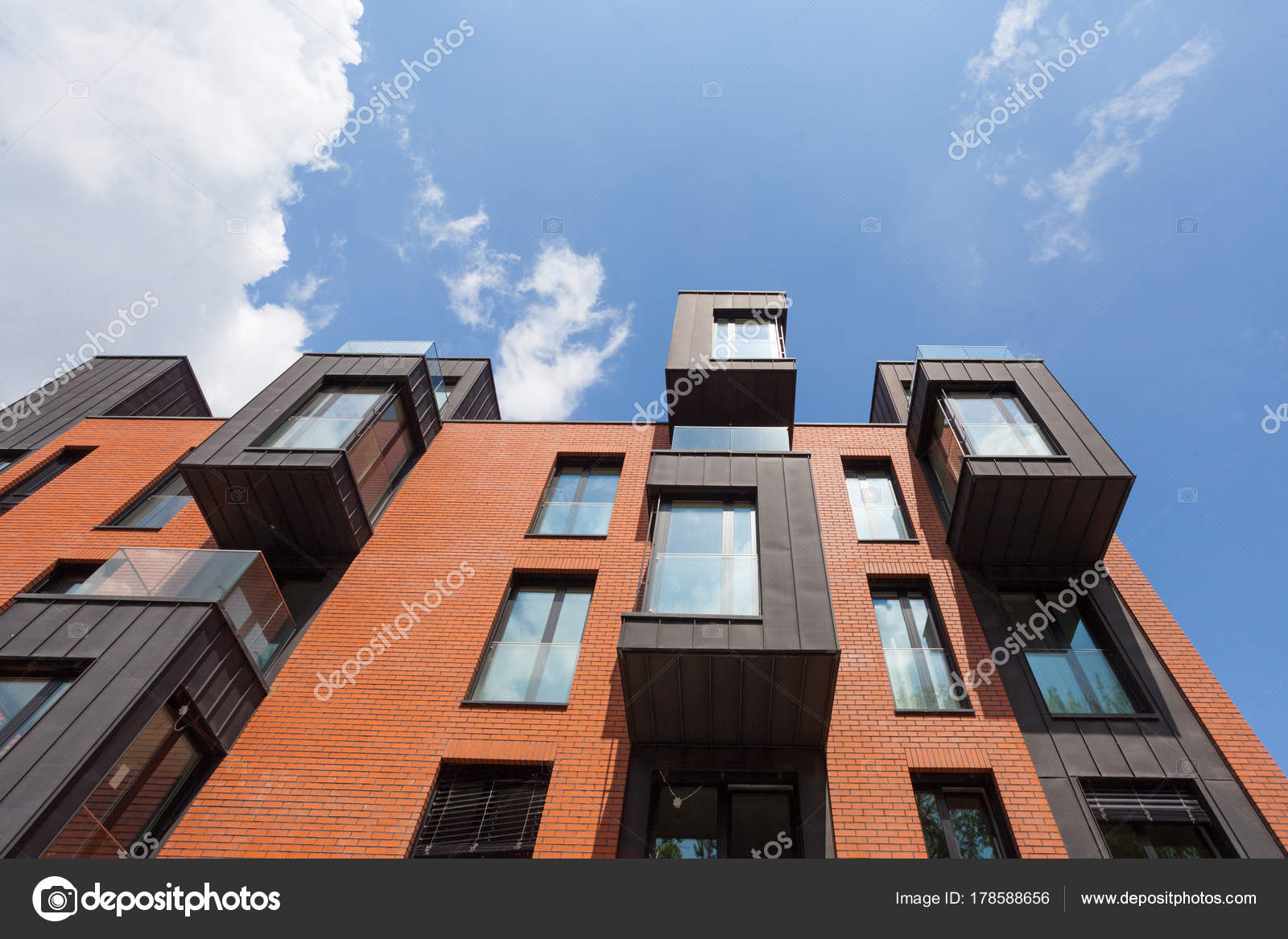 Contemporary Residential Building Exterior Daylight Modern Balcony Brick Facade Stock Photo Image By C Brizmaker 178588656