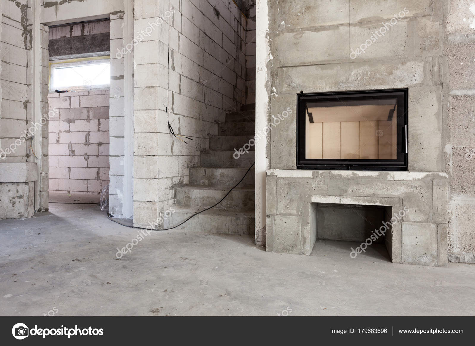 new house construction modern wood fired fireplace construction rh depositphotos com wiring a concrete block house House Wiring Circuits Diagram