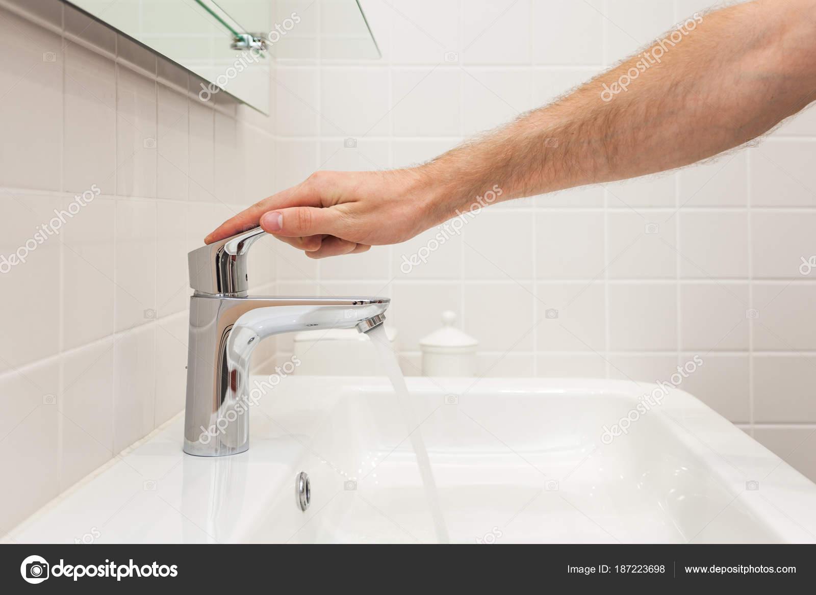 Bathroom Interior Bright Bathroom New Tiles New Washbasin White Sink ...