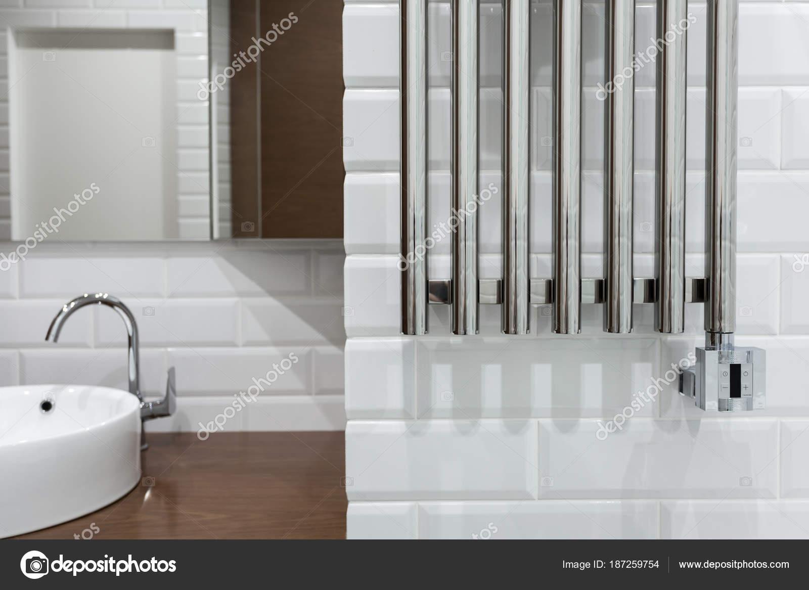 Heated Towel Rail Bathroom Towel Warmer Bathroom — Stock Photo ...